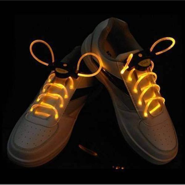 1 Pair LED Flashing Shoe Platube Laces (Yellow)