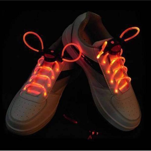 1 Pair LED Flashing Shoe Platube Laces (Red)