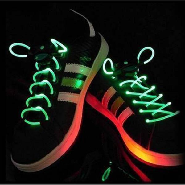1 Pair LED Flashing Shoe Platube Laces (Green)