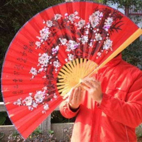 Professional Plum Flower Fan (Red, 88cm)