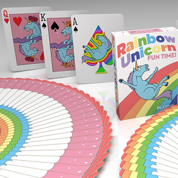 Rainbow Unicorn Fun Time! Playing Cards by Handlor...