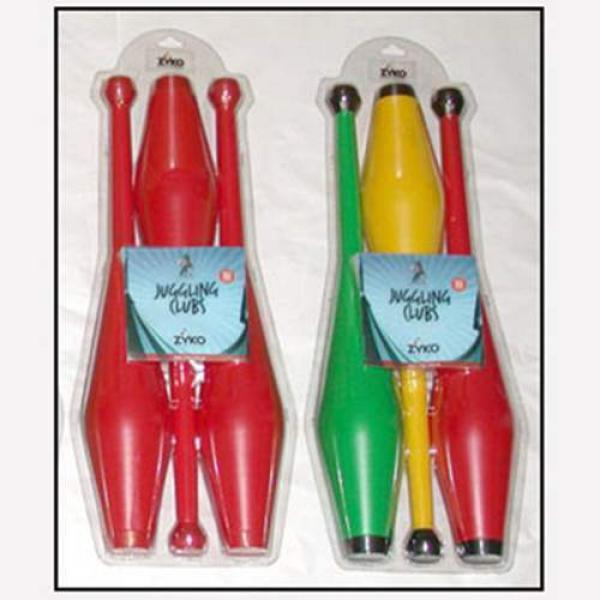 Juggling Set (3 Undecorated Clubs and DVD) - Red b...