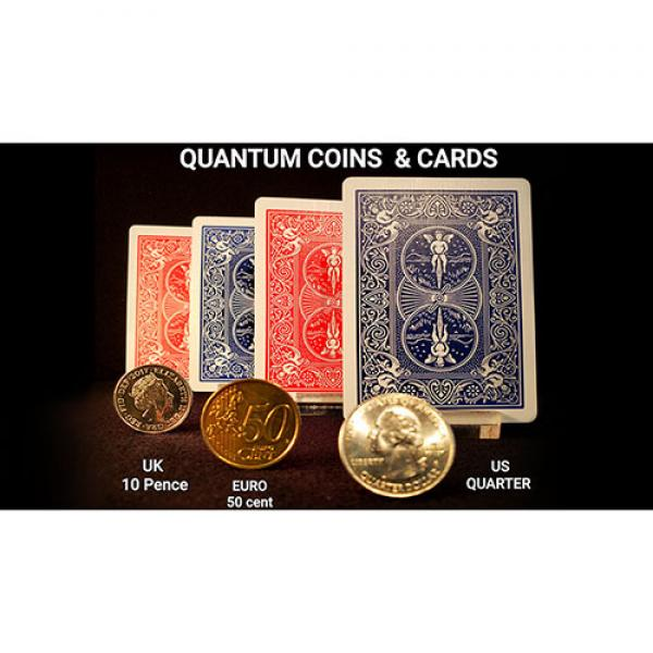 Quantum Coins (Euro 50 cent Blue Card) Gimmicks and Online Instructions by Greg Gleason and RPR Magic Innovations