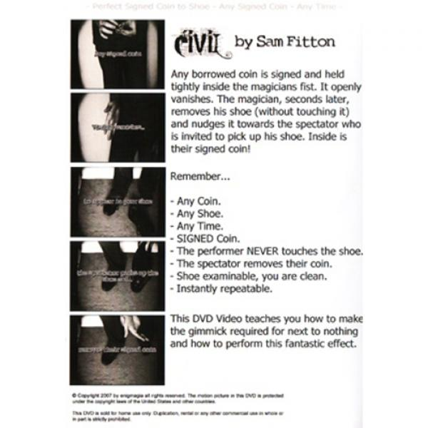 Civil (Coin In Very Intriguing Location) by Sam Fitton - DVD and Gimmick